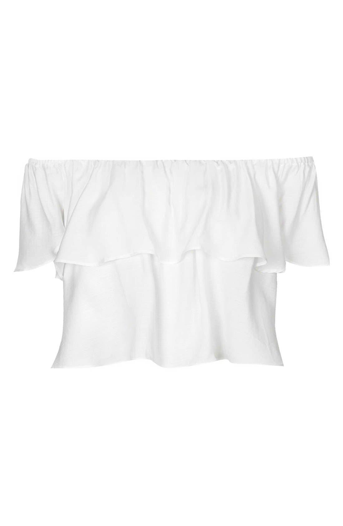 Alternate Image 3  - Topshop Ruffle Off-Shoulder Crop Top