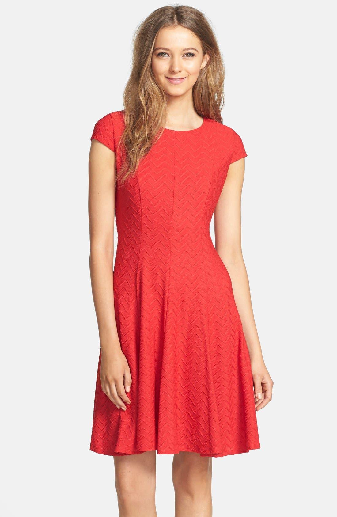 Main Image - Eliza J Textured Knit Fit & Flare Dress (Petite)