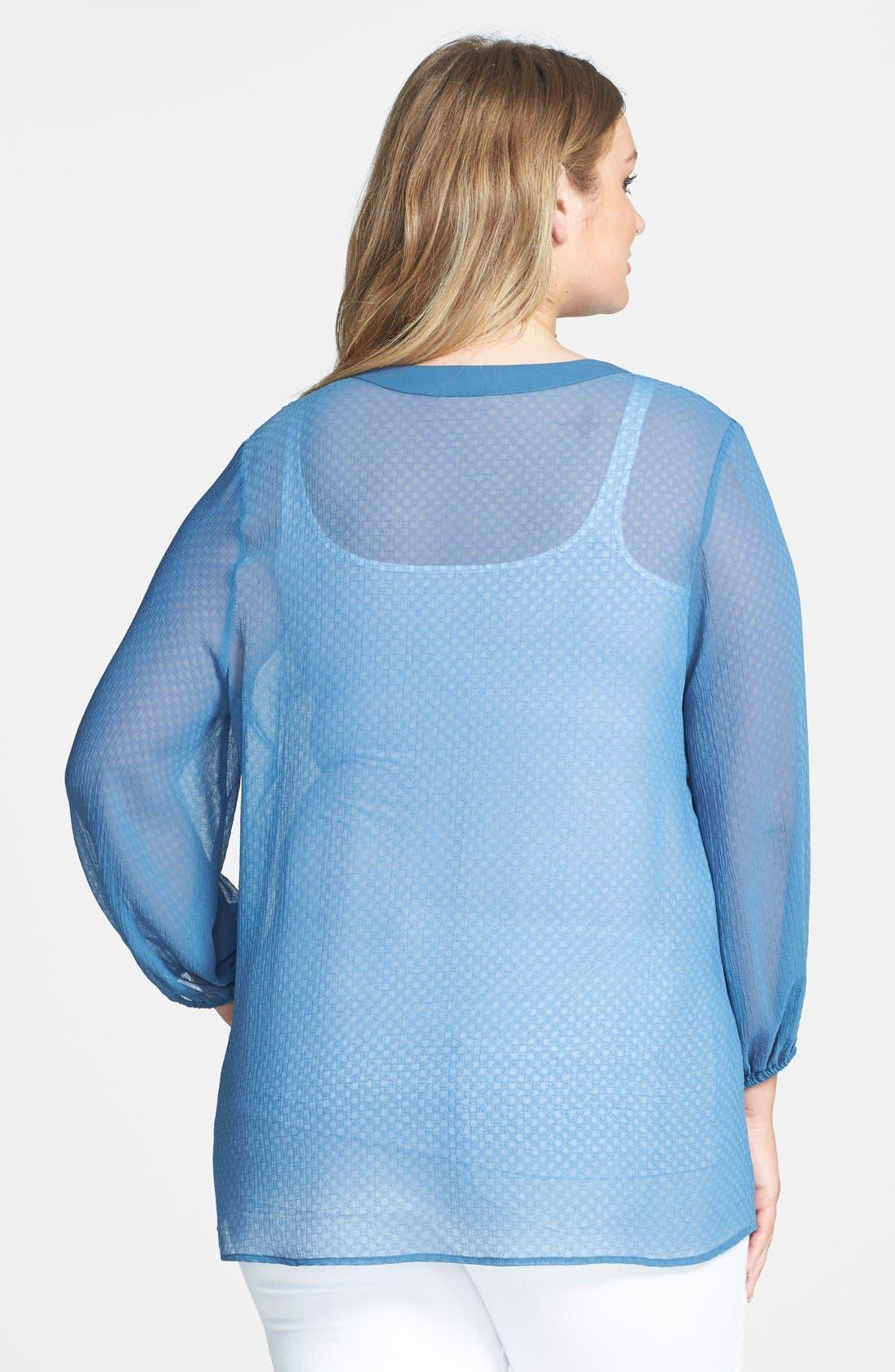 Alternate Image 2  - Pleione Textured Chiffon V-Neck Blouse (Plus Size)