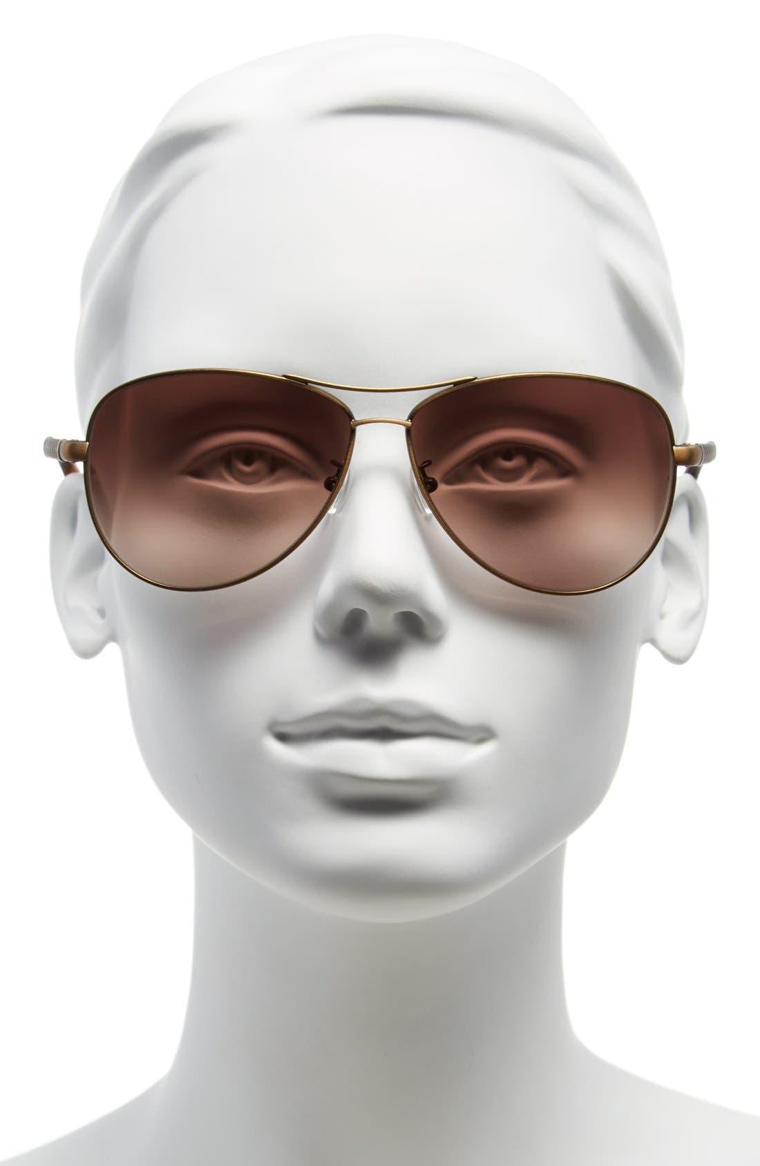 Alternate Image 2  - Bottega Veneta 61mm Special Fit Aviator Sunglasses
