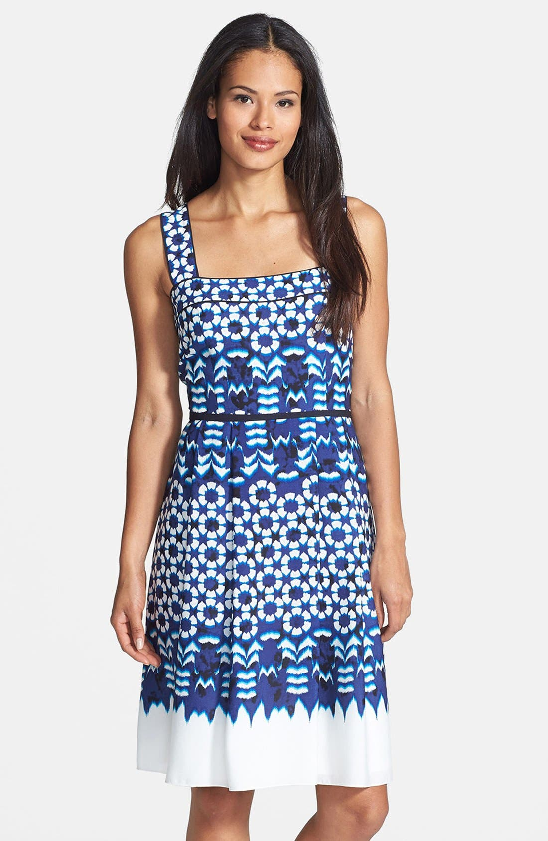 Alternate Image 1 Selected - Adrianna Papell Print Crêpe de Chine Fit & Flare Dress
