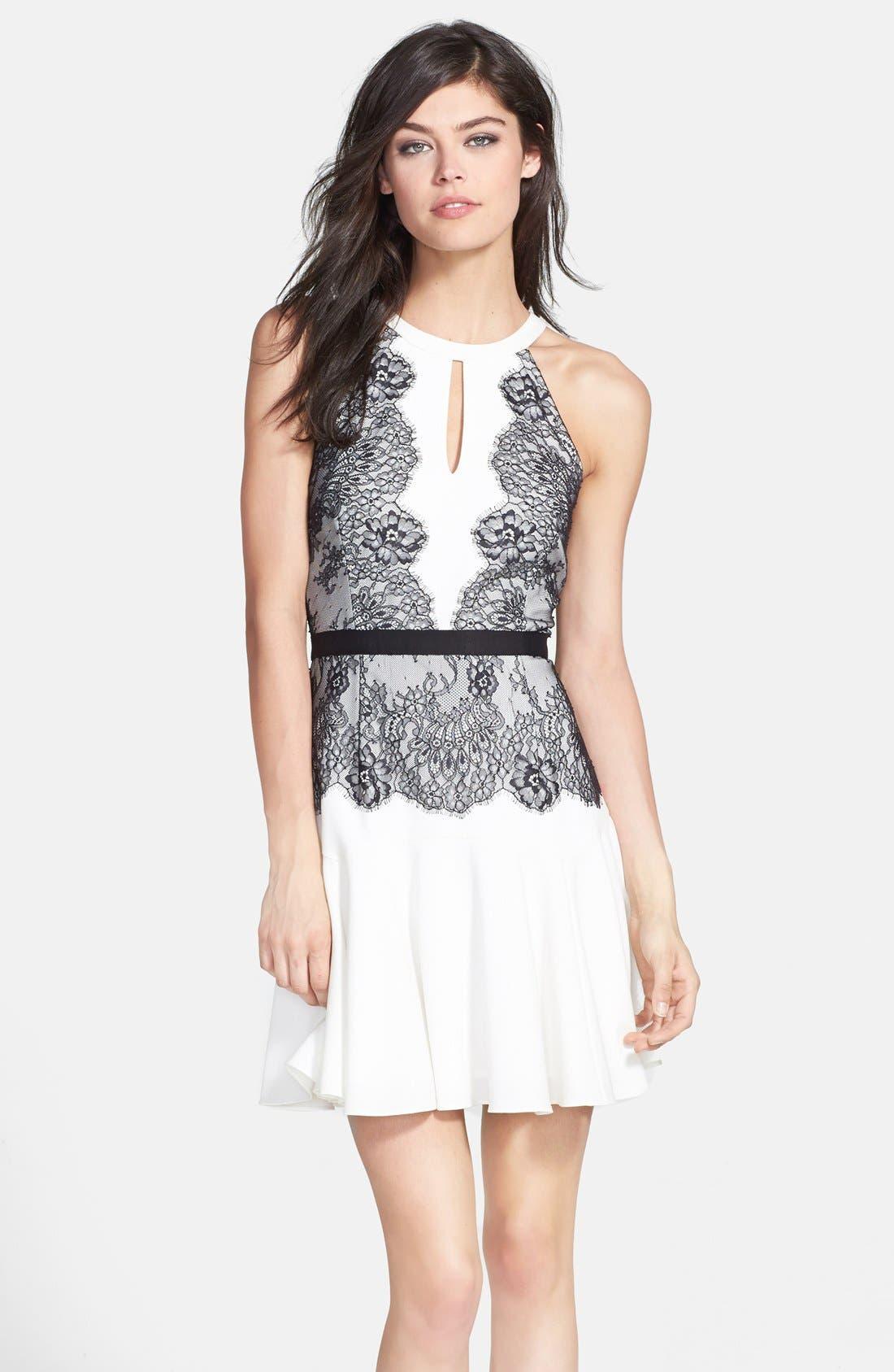 BCBGMAXAZRIA 'Leyla' Lace Detail Crepe Dress