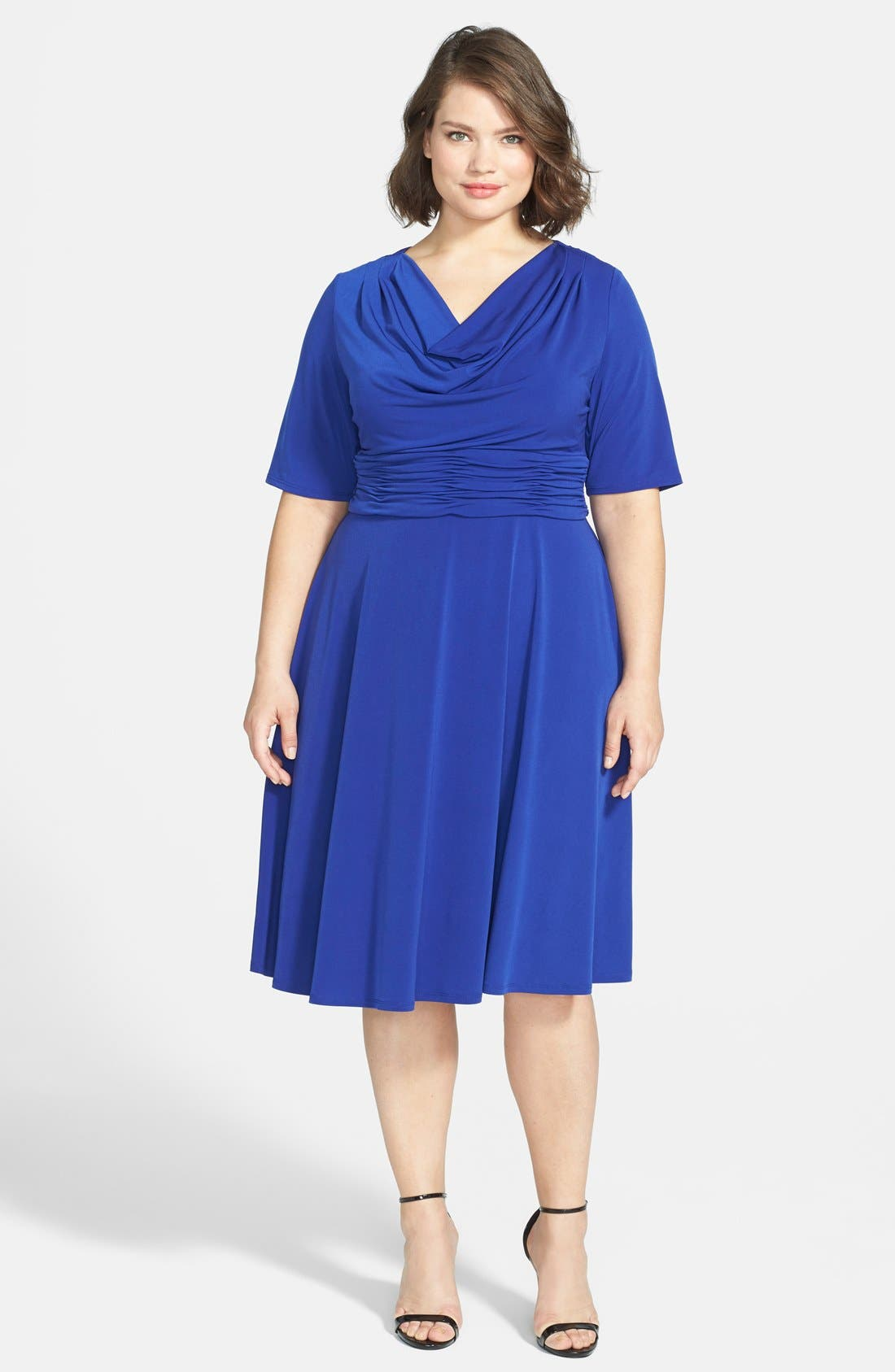Alternate Image 1 Selected - Jessica Howard Ruched Waist Fit & Flare Dress (Plus Size)