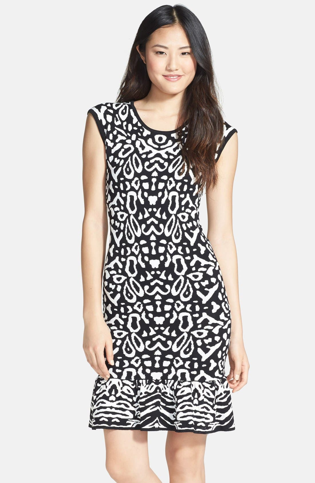 Alternate Image 1 Selected - Felicity & Coco Flounce Hem Jacquard Body-Con Sweater Dress (Regular & Petite) (Nordstrom Exclusive)