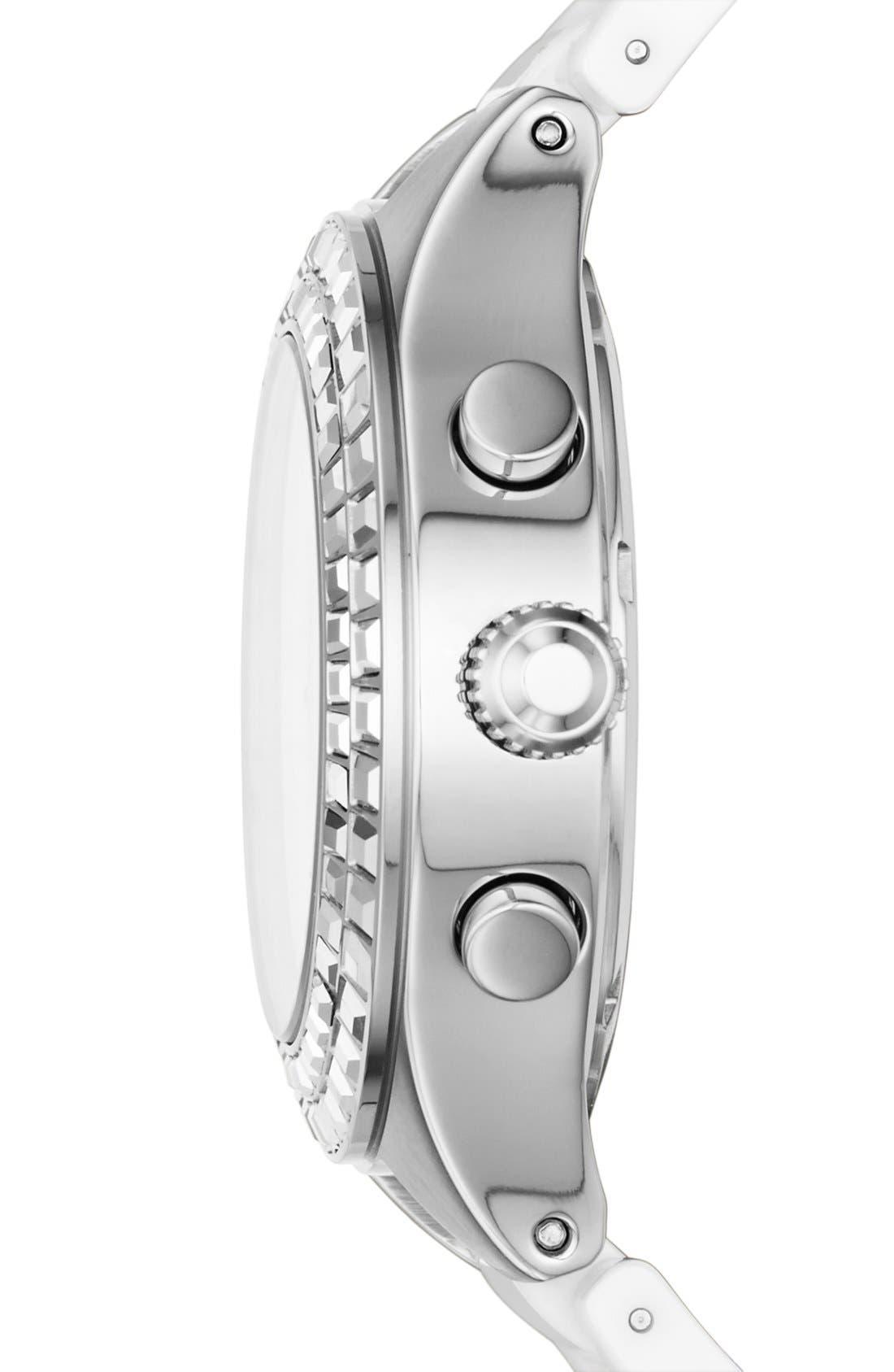 Alternate Image 3  - DKNY 'Chambers' Crystal Bezel Multifunction Ceramic Bracelet Watch, 38mm