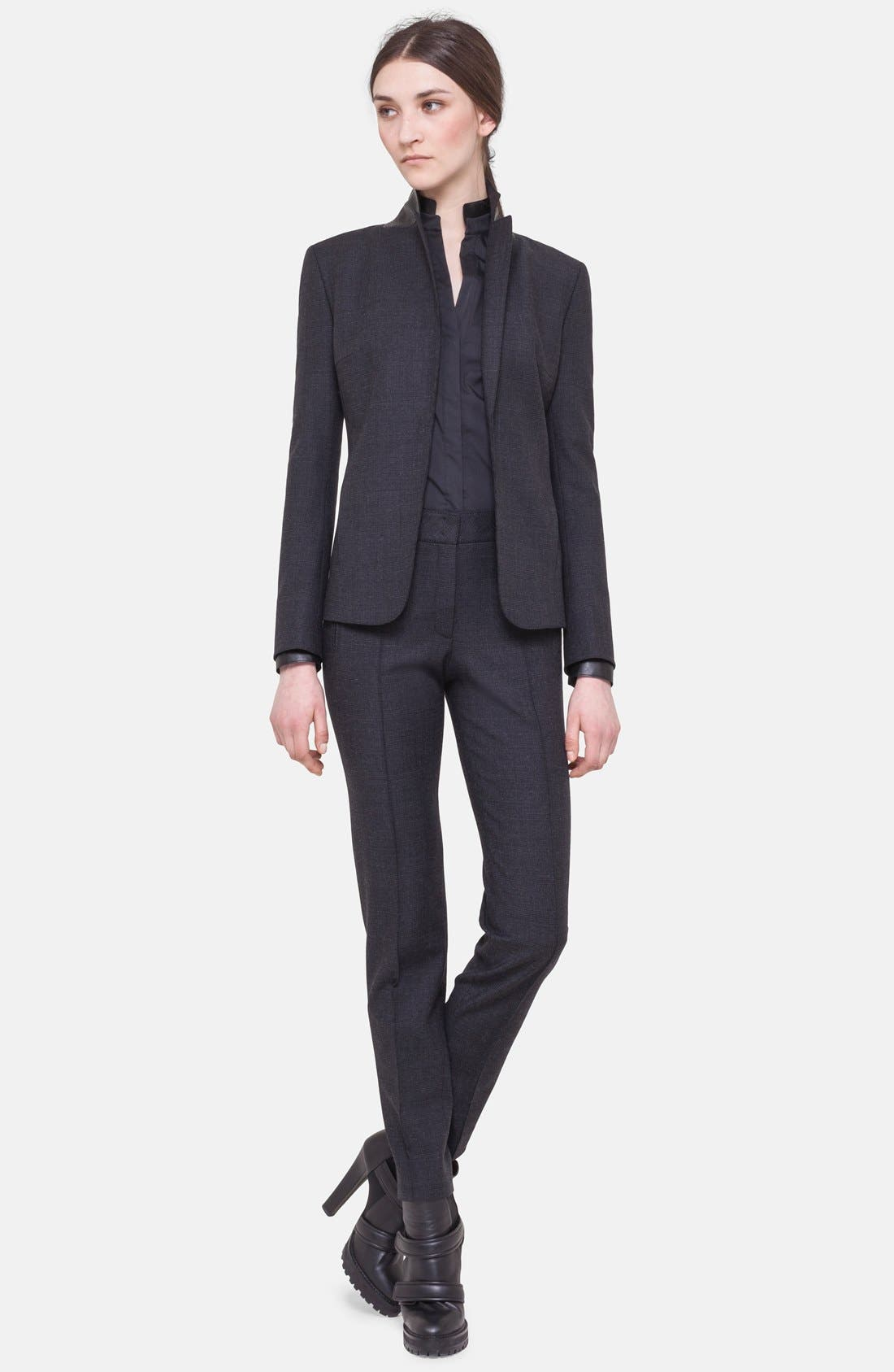 Alternate Image 1 Selected - Akris punto Tonal Prince of Wales Jacket with Faux Leather Trim