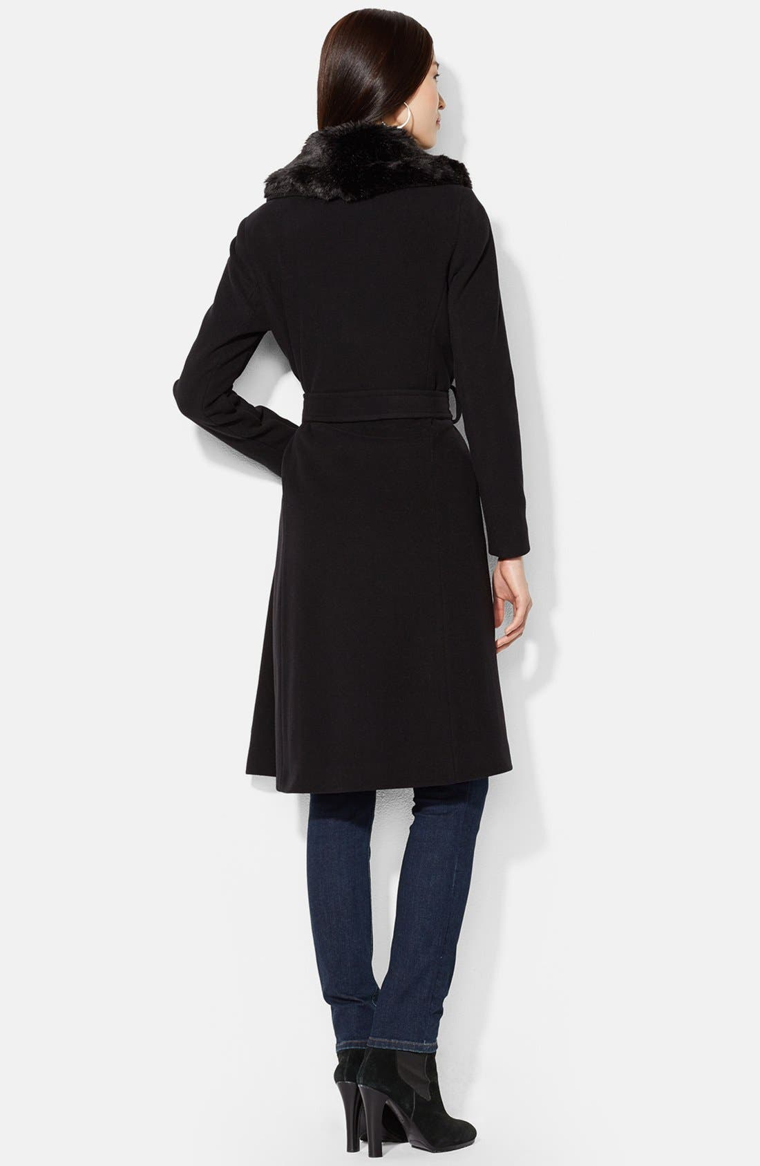 Alternate Image 2  - Lauren Ralph Lauren Faux Fur Trim Wool Blend Wrap Coat (Online Only)