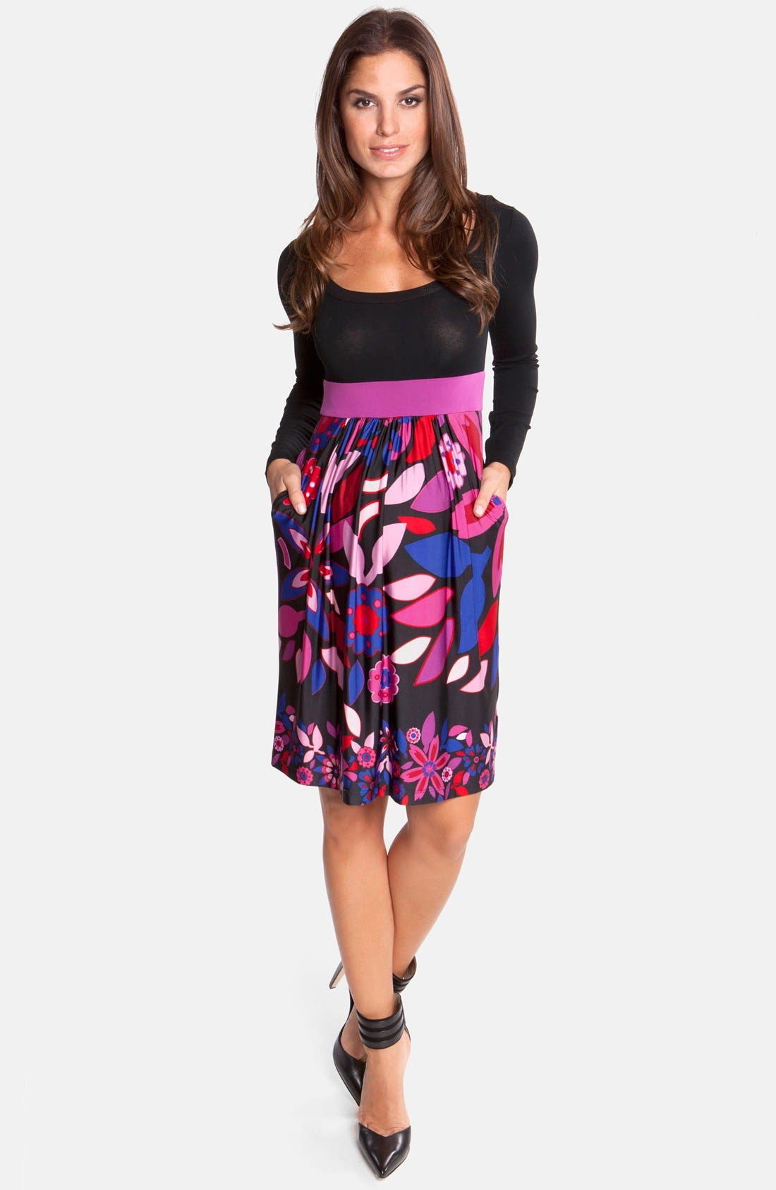 Main Image - Olian Floral Print Jersey Maternity Dress