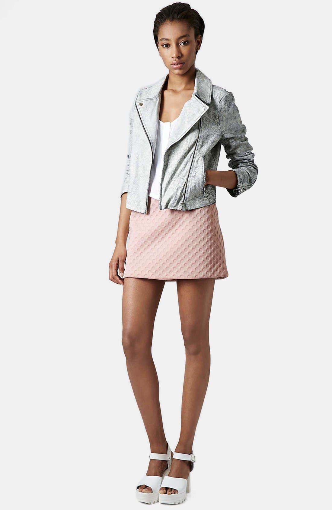 Alternate Image 5  - Topshop 'Foam Spot' Embossed Miniskirt