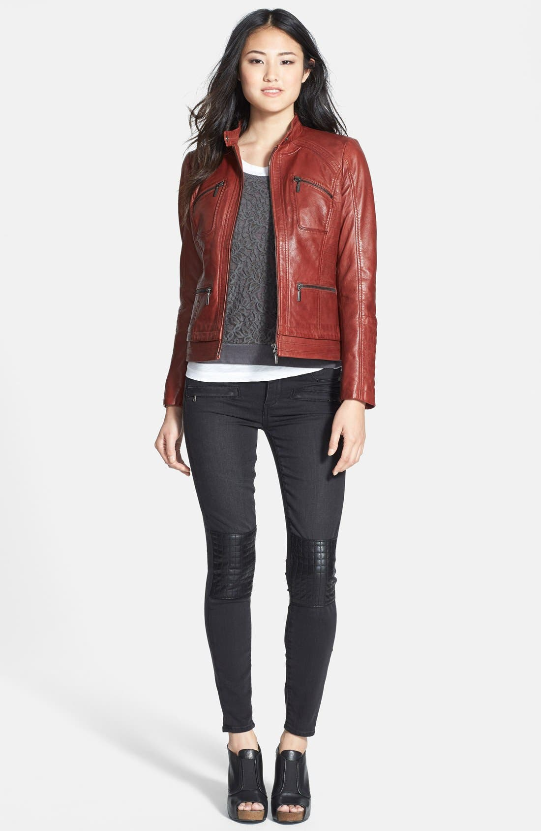 Alternate Image 4  - Paige Denim 'Harlem' Leather Detail Ultra Skinny Jeans (Moscow No Whiskers)