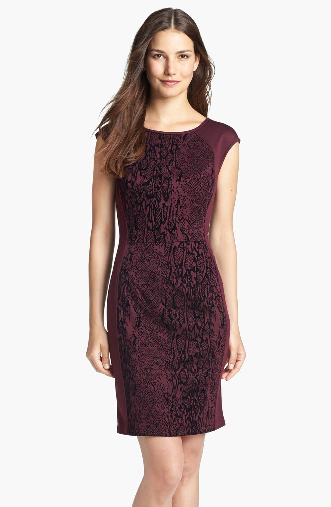 Alternate Image 1 Selected - Donna Ricco Jacquard Panel Sheath Dress