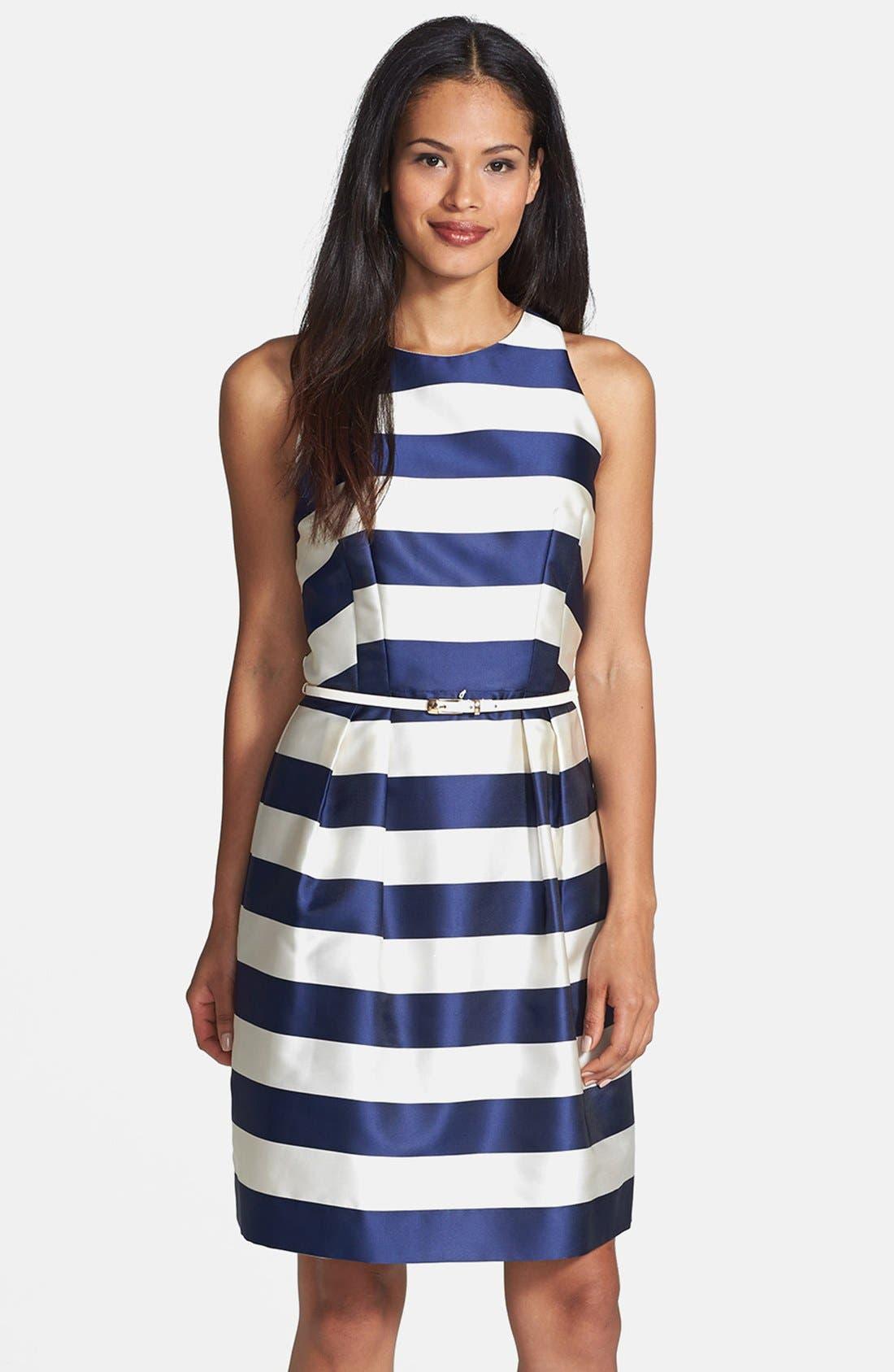 Main Image - Donna Ricco Belted Stripe Matte Satin Dress