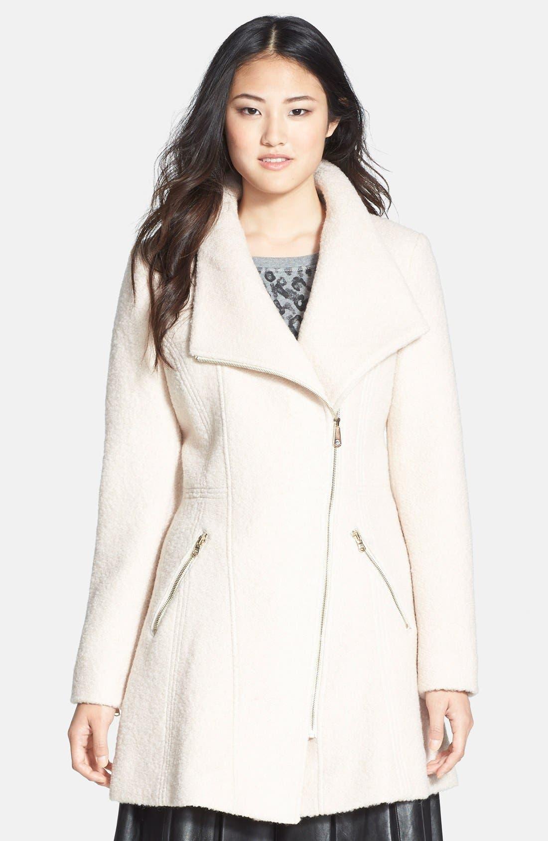 Main Image - GUESS Asymmetrical Zip Bouclé Coat