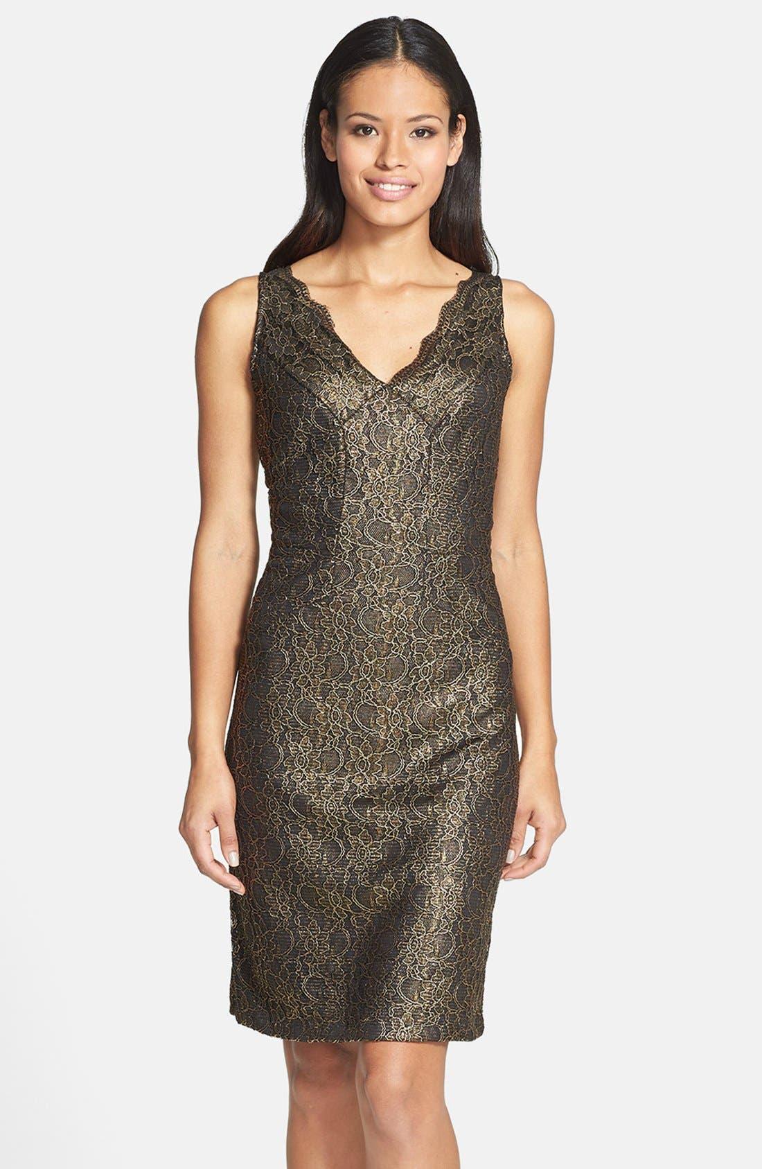 Alternate Image 1 Selected - Donna Ricco Metallic Lace Sheath Dress