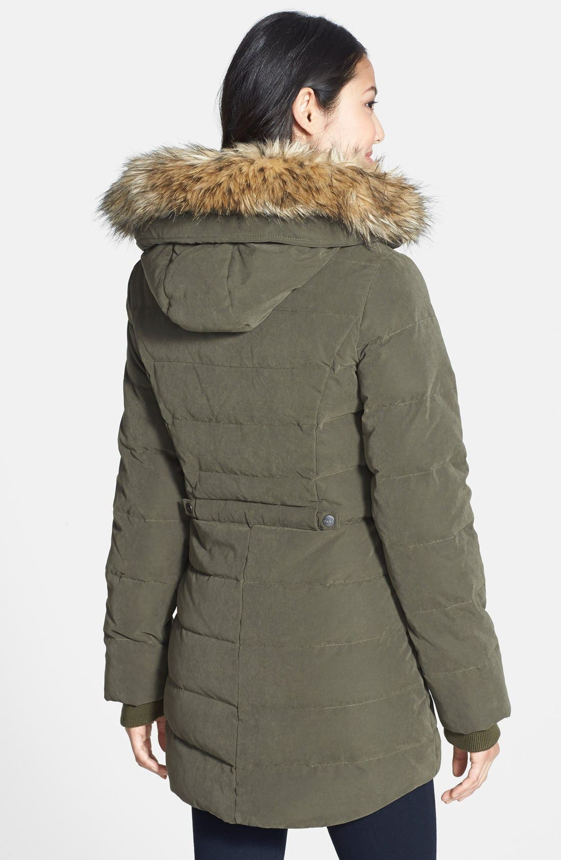 Alternate Image 2  - DKNY Faux Fur Trim Down & Feather Anorak