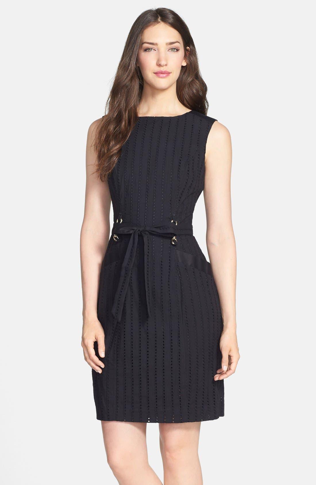 Alternate Image 1 Selected - Ellen Tracy Belted Cotton Eyelet Sheath Dress