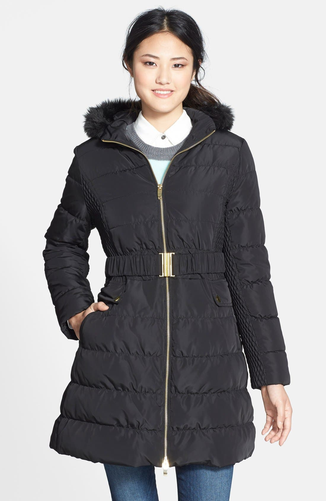 Alternate Image 1 Selected - Via Spiga Faux Fur Trim Hooded Down & Feather Coat (Online Only)