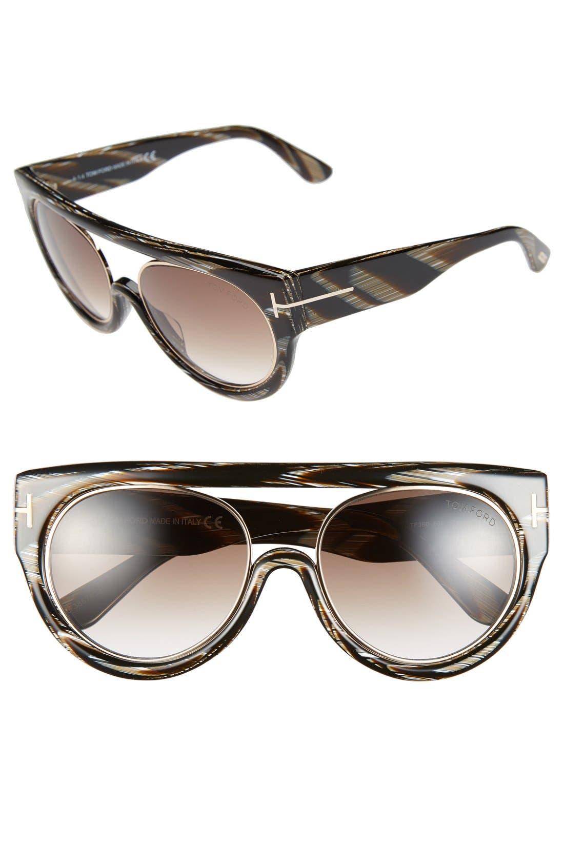 Alternate Image 1 Selected - Tom Ford 'Alana' 55mm Modified Aviator Sunglasses