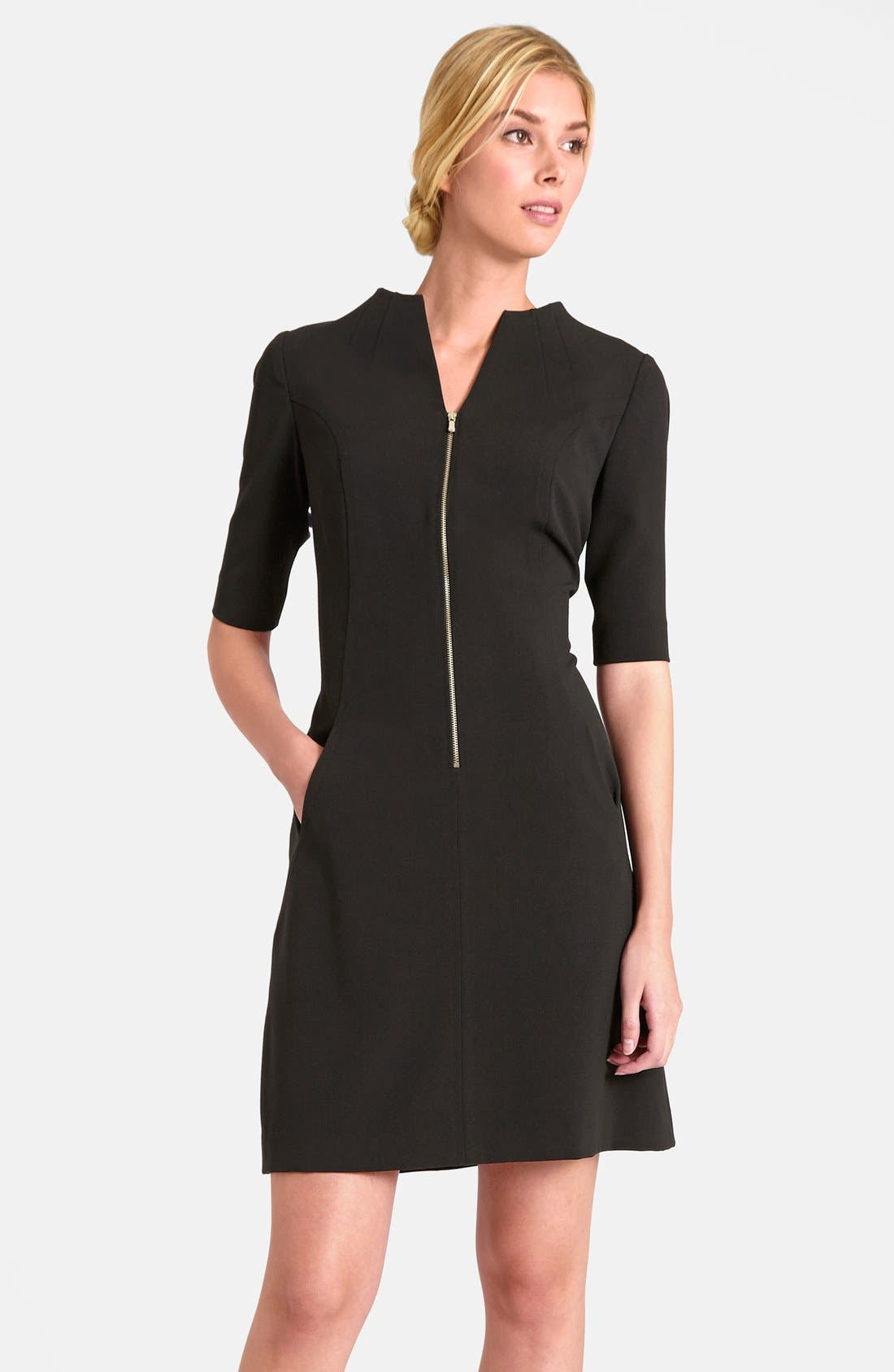 Alternate Image 1 Selected - Tahari Elbow Sleeve Front Zip Sheath Dress