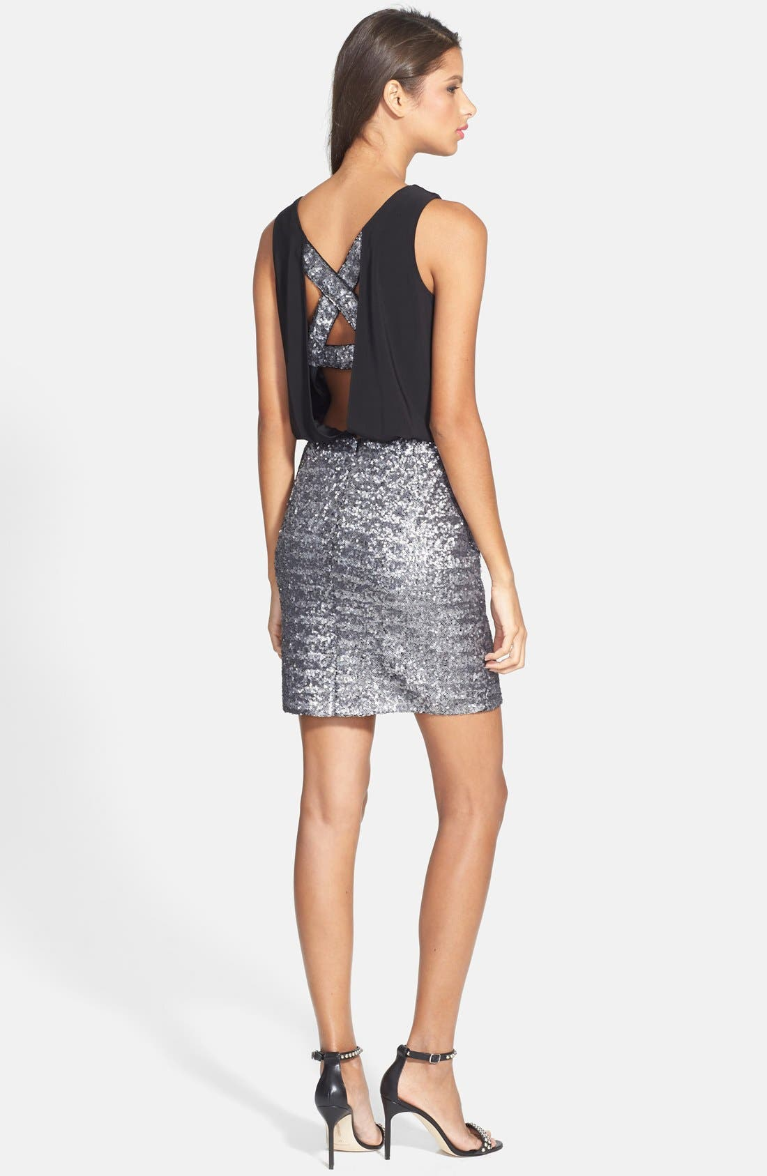 Alternate Image 2  - Aidan by Aidan Mattox Cutout Sequin Blouson Dress
