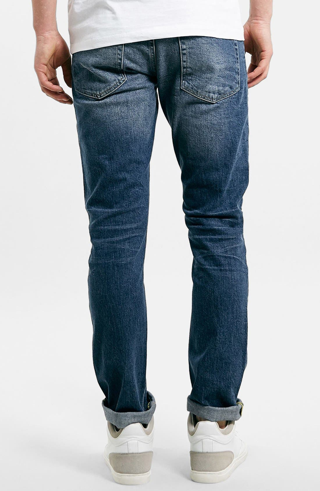 Alternate Image 2  - Topman Stretch Slim Fit Jeans (Dark Blue)