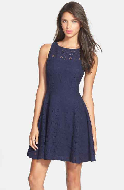 Blue lace dresses nordstrom for Nordstrom women s wedding guest dresses