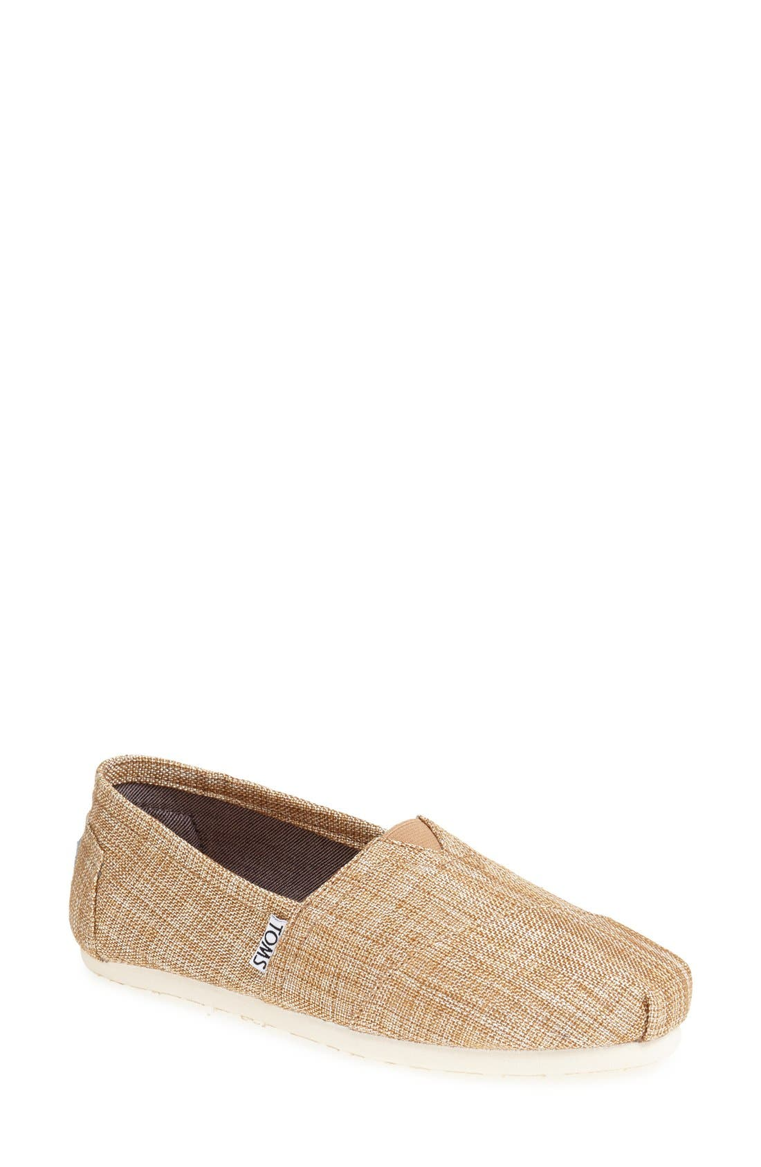 Alternate Image 1 Selected - TOMS 'Classic' Metallic Burlap Slip-On (Women)