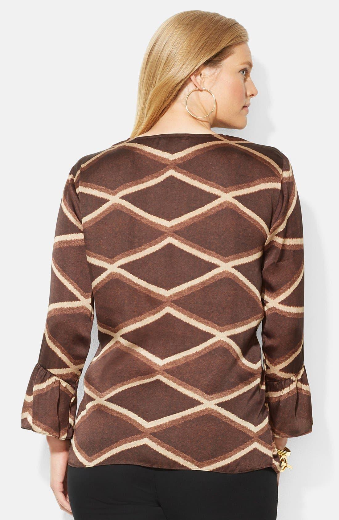 Alternate Image 2  - Lauren Ralph Lauren Geo Print V-Neck Top (Plus Size)