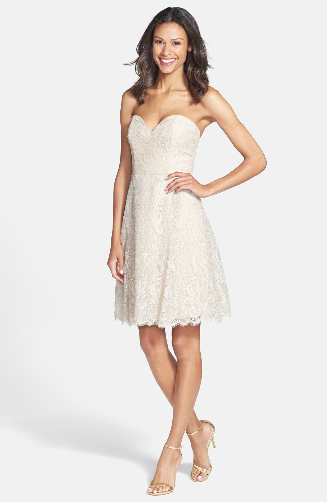 Alternate Image 3  - Jim Hjelm Occasions Strapless Lace A-Line Dress