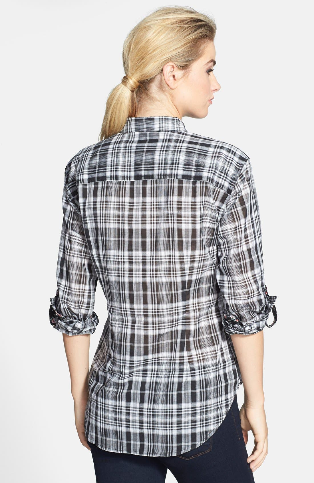 Alternate Image 2  - Sandra Ingrish Plaid Boyfriend Shirt (Regular & Petite)