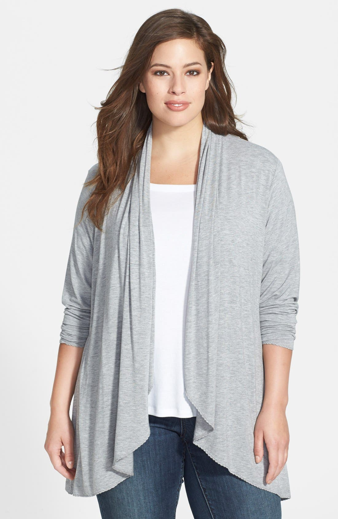 Alternate Image 1 Selected - Dantelle Open Front Cardigan (Plus Size)