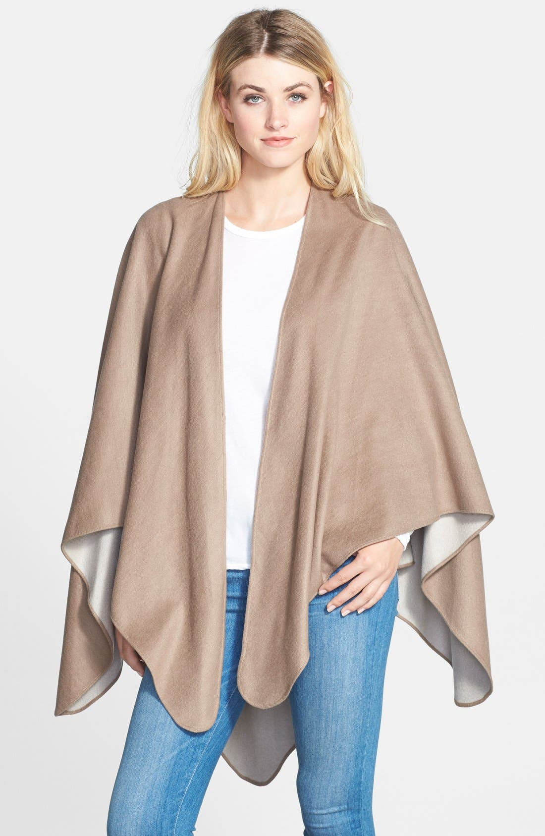Main Image - Chelsey Solid Reversible Silk Cape
