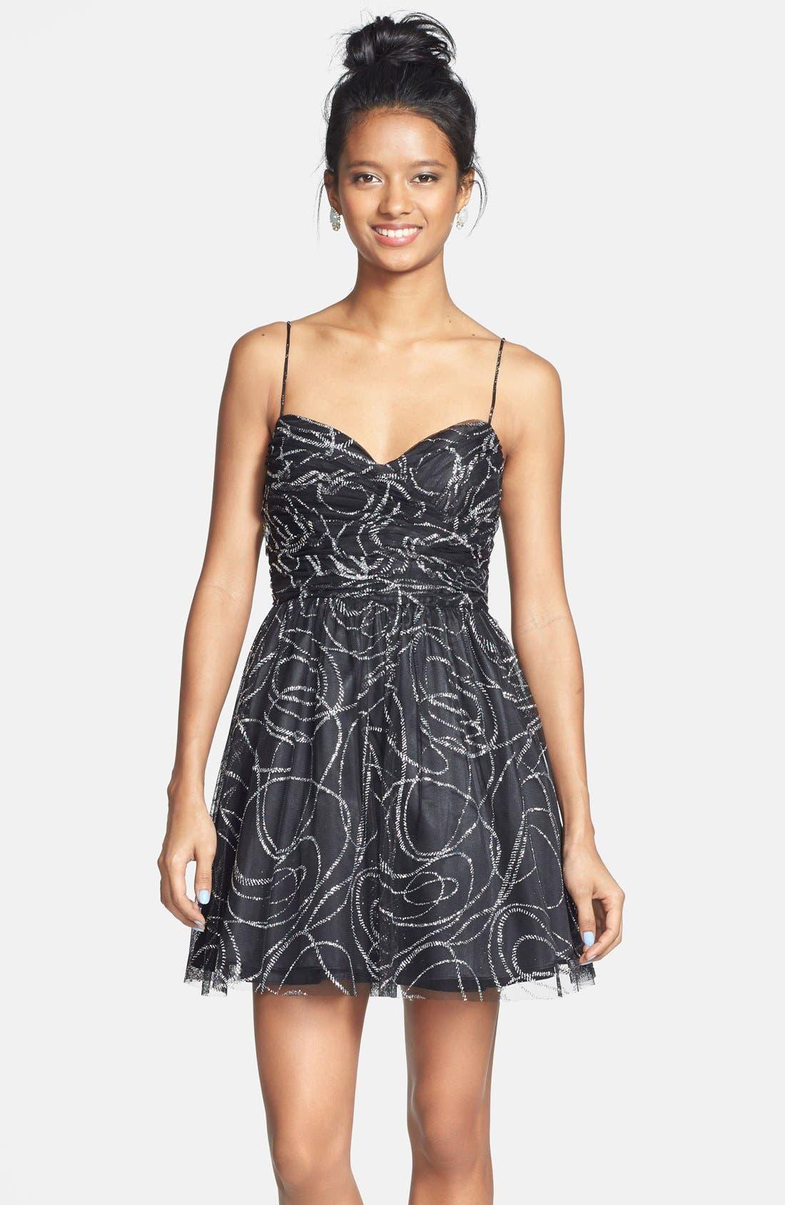 Main Image - Hailey Logan Glitter Tulle Fit & Flare Dress (Juniors)