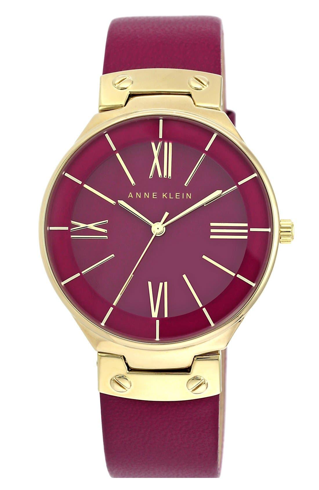 Main Image - Anne Klein Round Leather Strap Watch, 38mm
