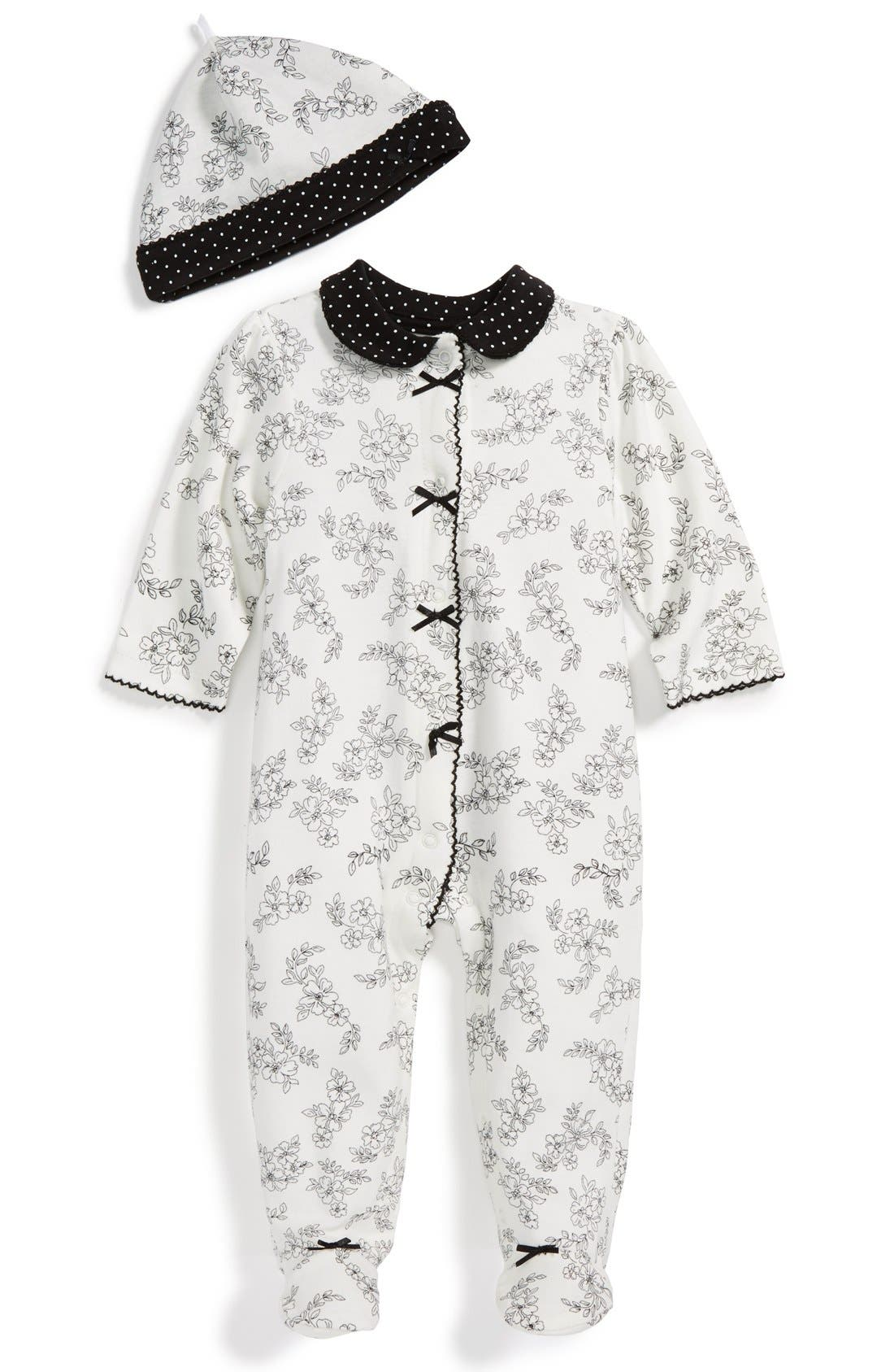 Main Image - Little Me Floral Print One-Piece & Hat (Baby Girls)