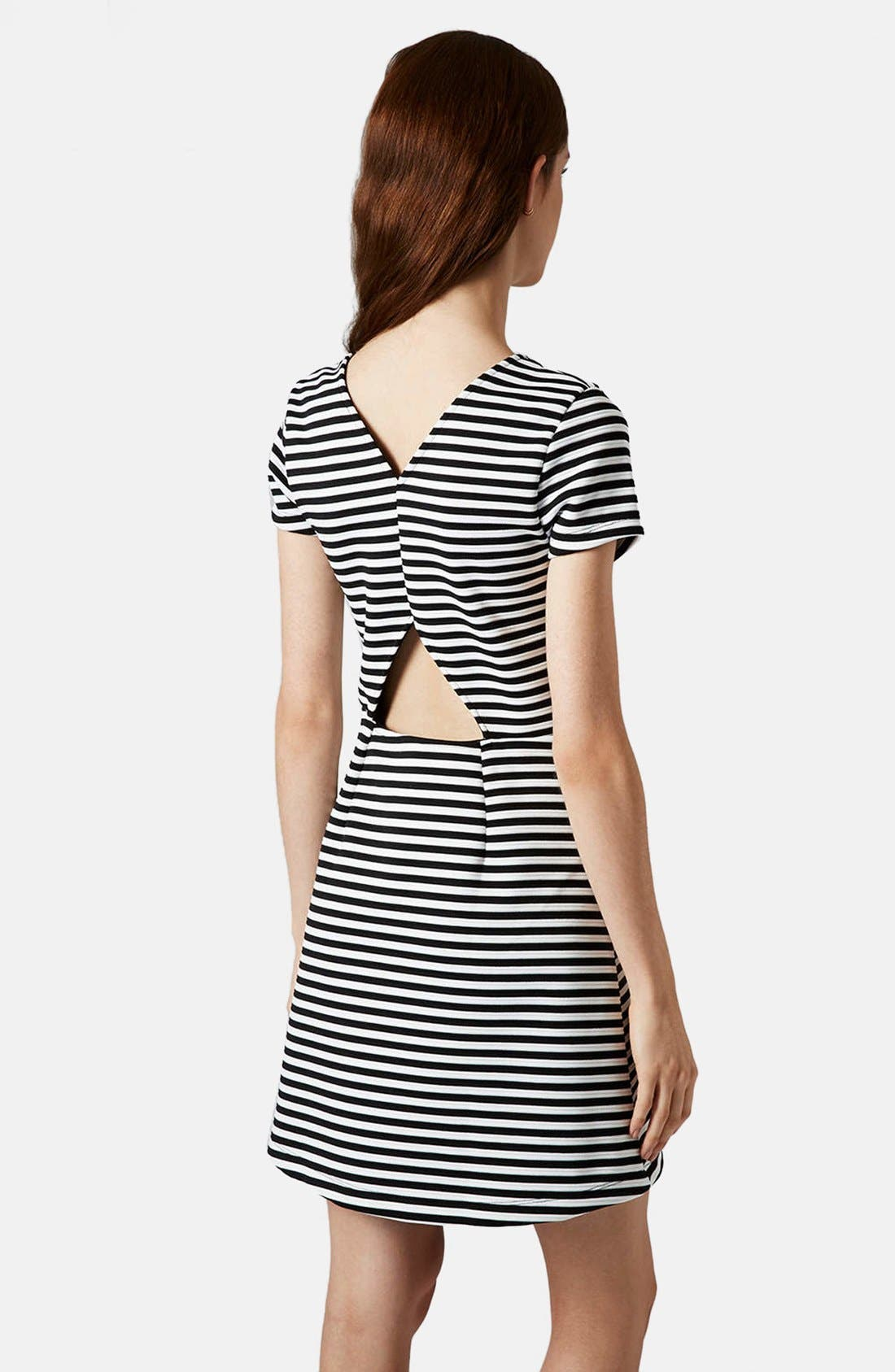 Alternate Image 2  - Topshop Sailor Stripe Bonded Skater Dress