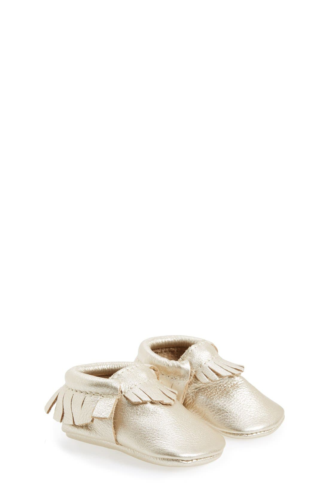 Alternate Image 1 Selected - Freshly Picked Metallic Leather Moccasin (Baby & Walker)
