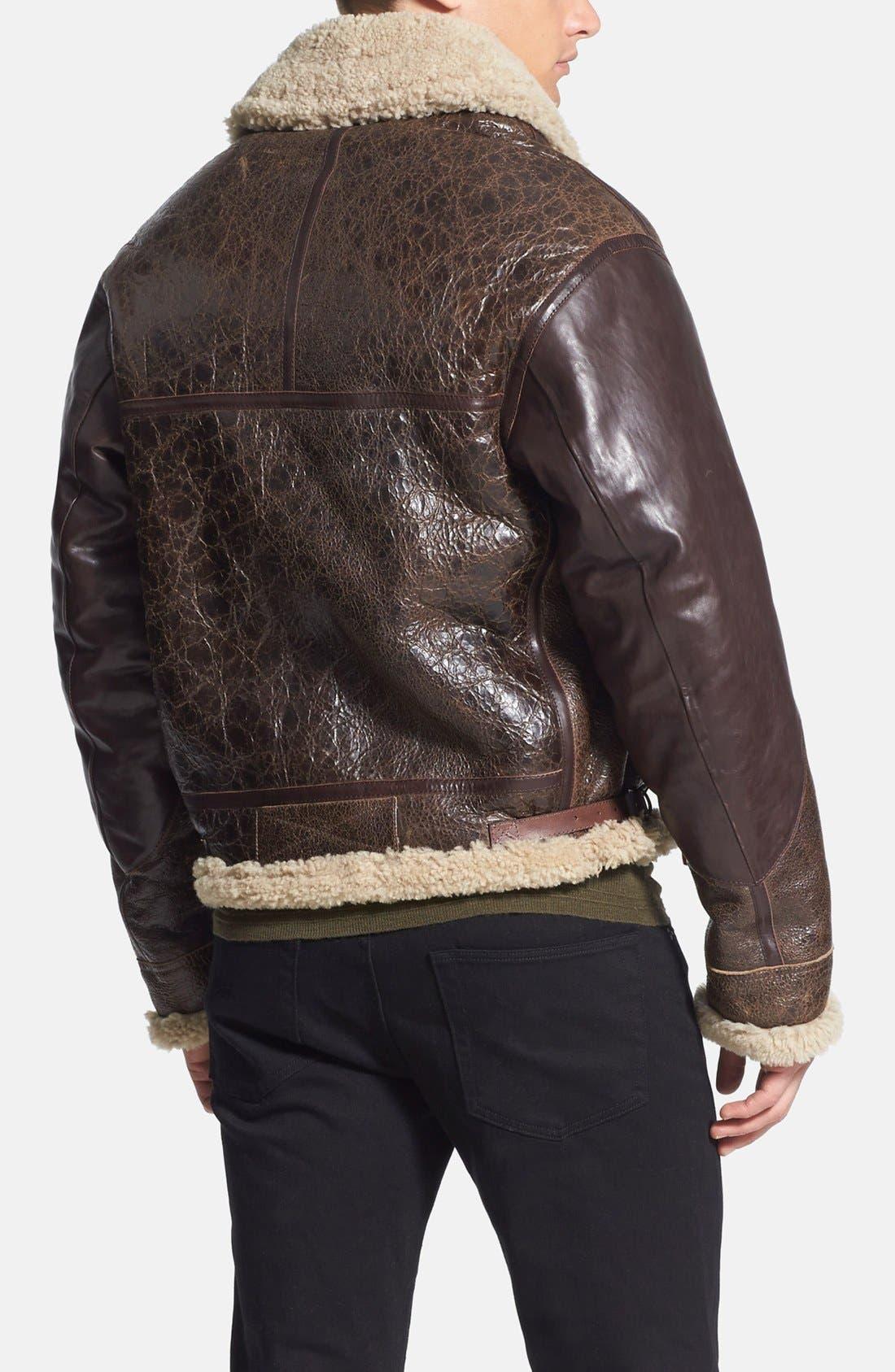 Alternate Image 2  - Burberry Brit 'Ormsby' Distressed Leather Jacket with Lamb Shearling Trim