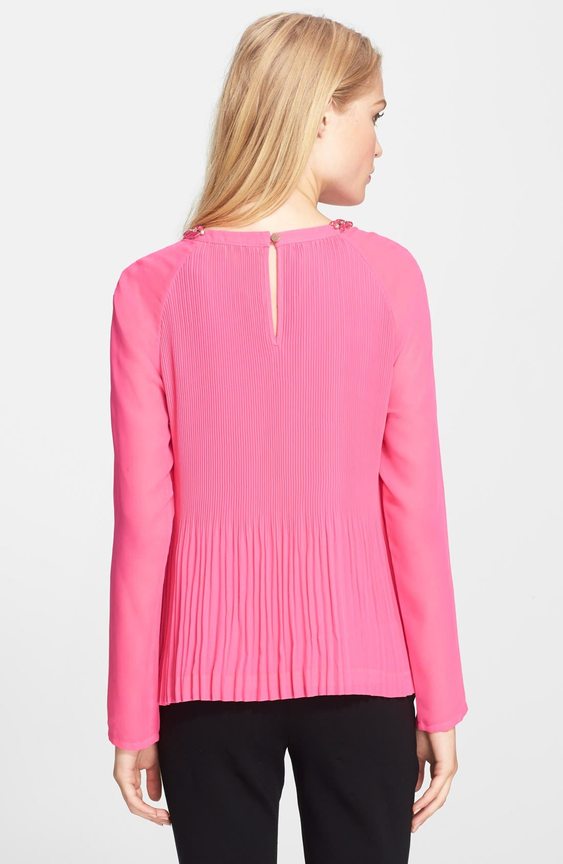 Alternate Image 2  - Ted Baker London 'Lovina' Beaded Neck Pleated Top
