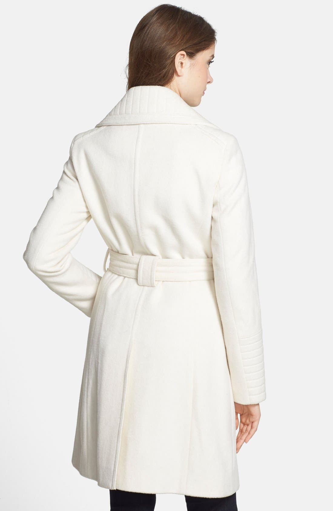 Alternate Image 3  - Laundry by Shelli Segal Belted Wool Blend Trench Coat (Regular & Petite)