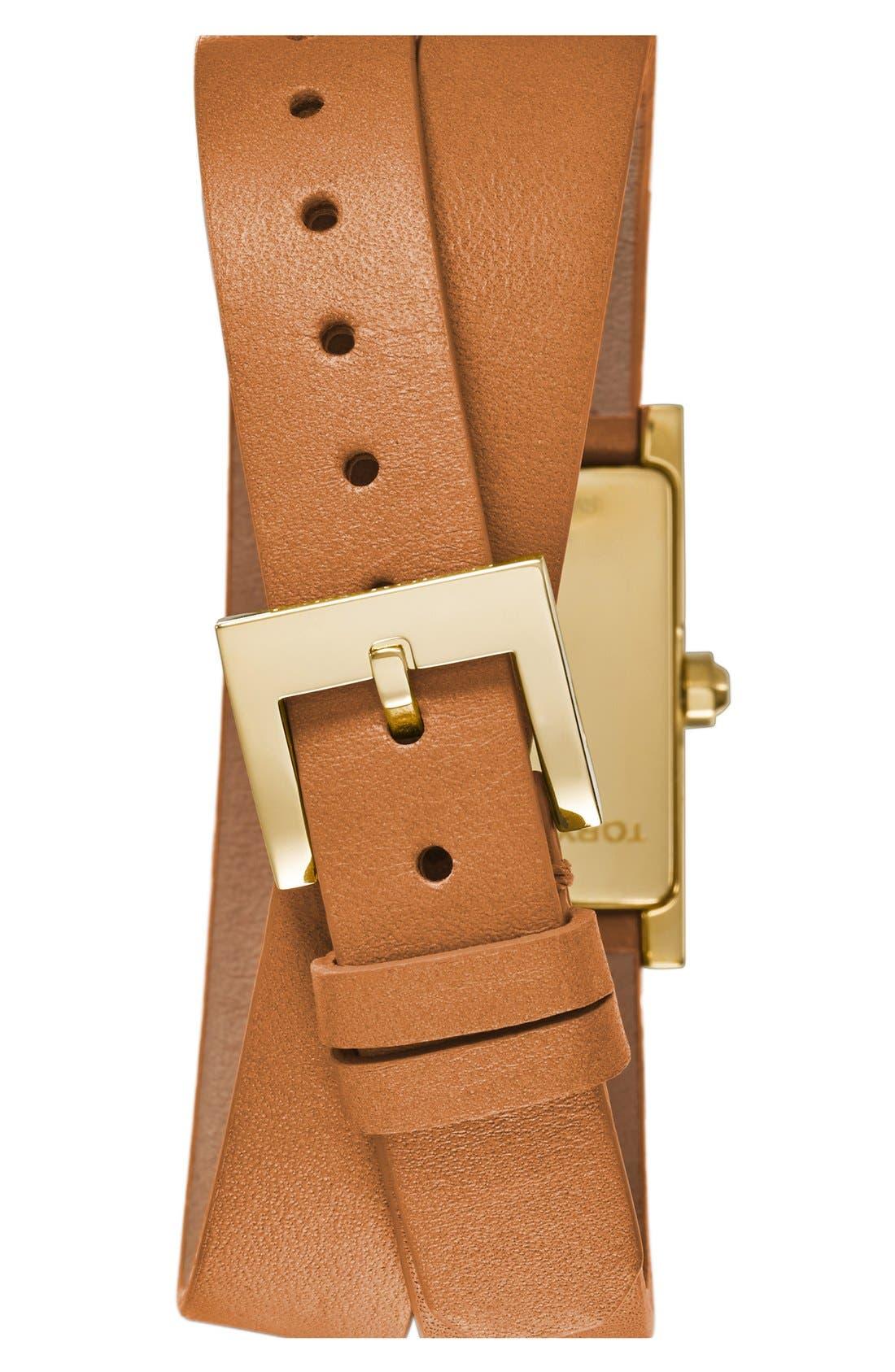 Alternate Image 2  - Tory Burch 'Buddy Signature' Rectangular Wrap Leather Strap Watch, 17mm x 31mm