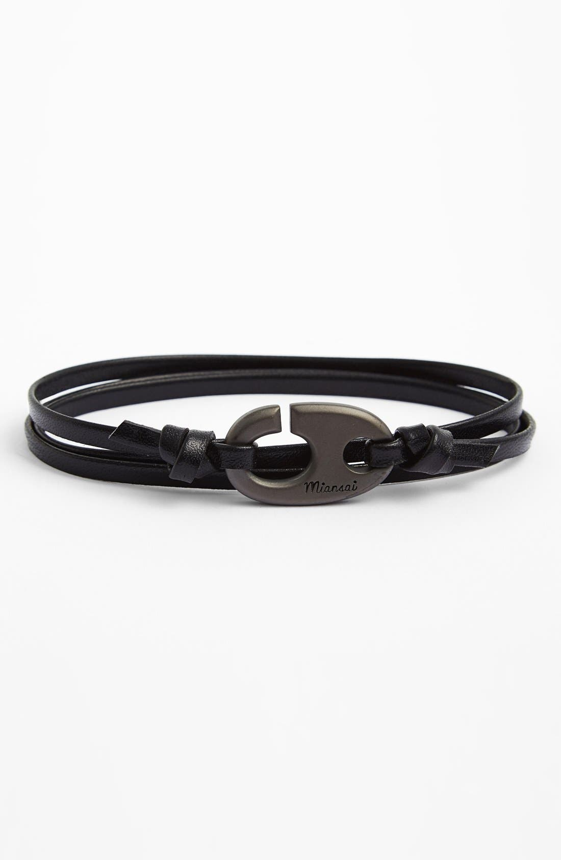 Alternate Image 1 Selected - Miansai Gold Plated Brummel Hook Leather Bracelet