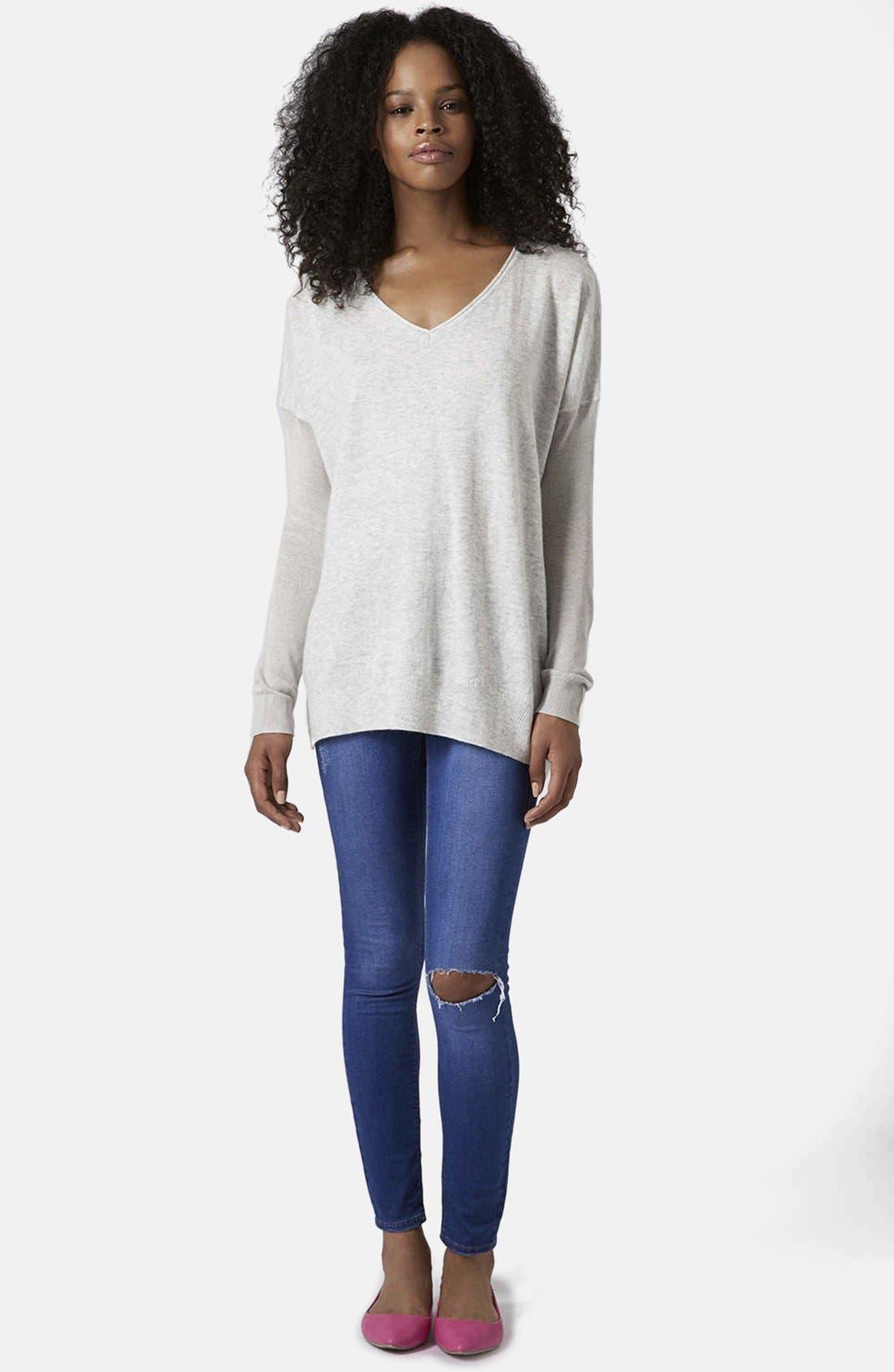 Alternate Image 5  - Topshop Asymmetrical V-Neck Sweater