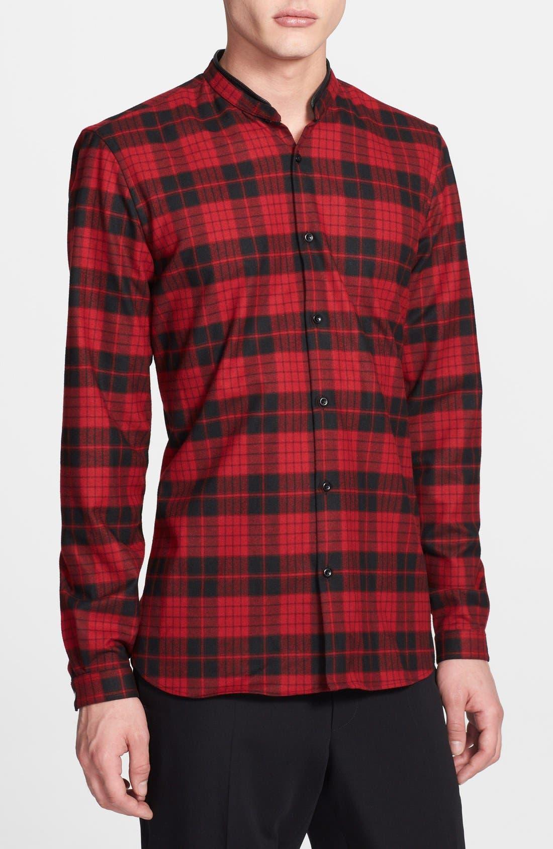 Main Image - The Kooples Band Collar Plaid Flannel Shirt
