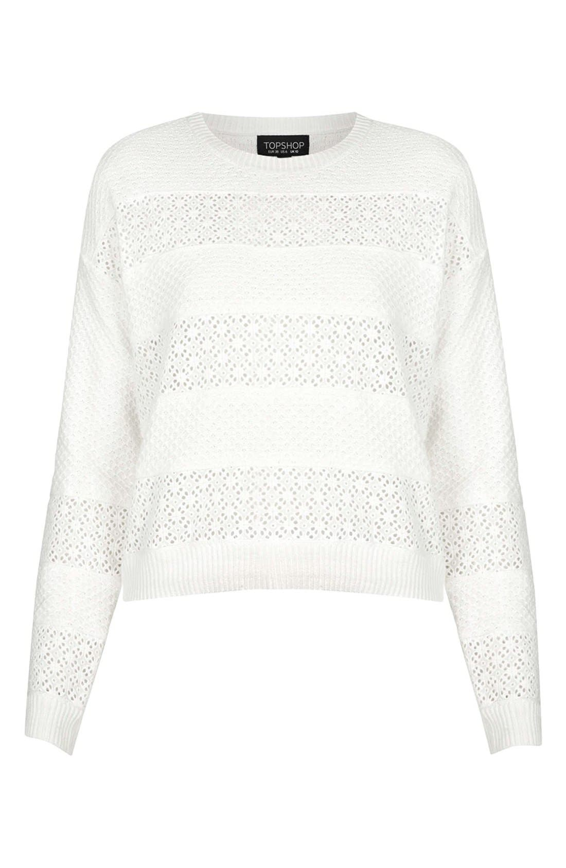 Alternate Image 3  - Topshop Lace Stripe Sweater