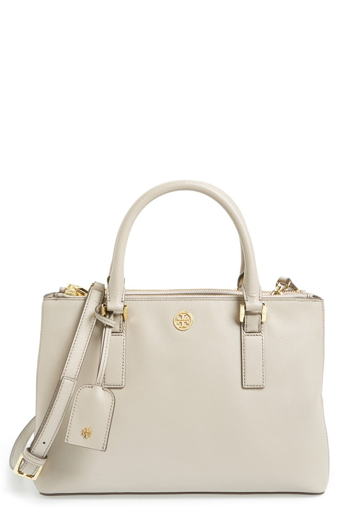 Alternate Image 1 Selected - Tory Burch 'Robinson - Mini' Double Zip Leather Tote