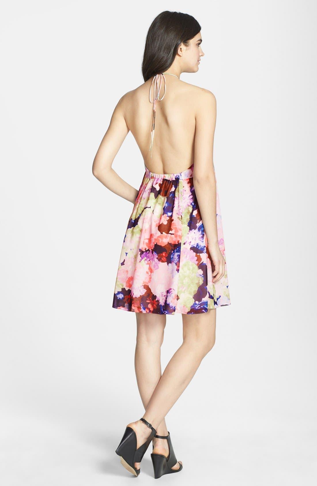 Alternate Image 2  - 1.STATE Floral Print Halter Dress