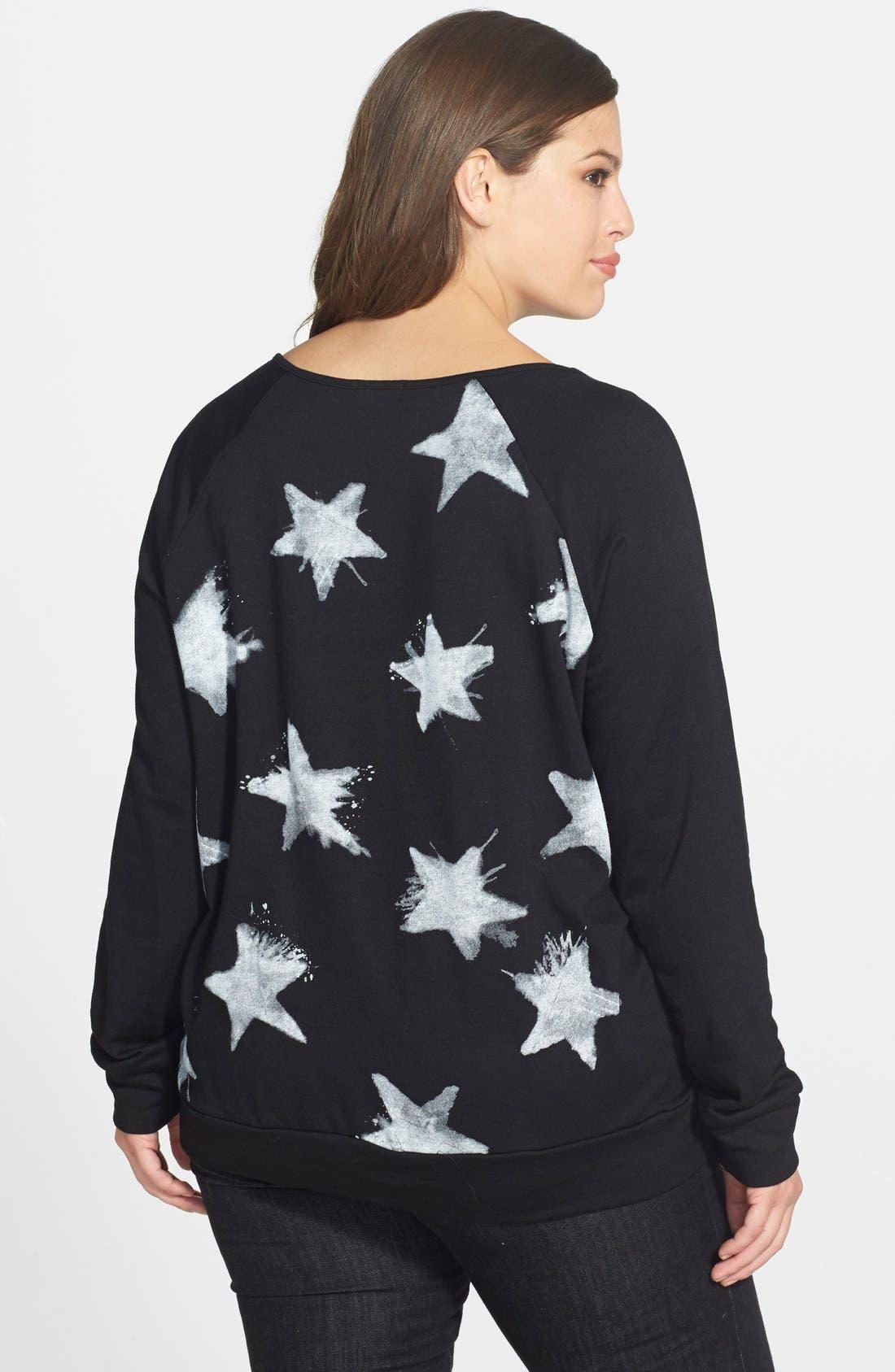 Alternate Image 2  - Pink Lotus Star Print Sweatshirt (Plus Size)