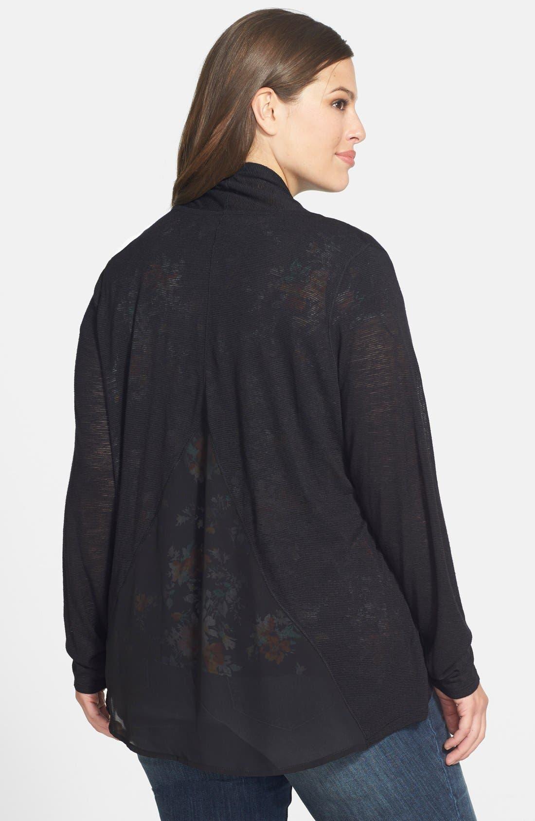 Alternate Image 2  - Jessica Simpson 'Veronica' Chiffon Inset Cardigan (Plus Size)