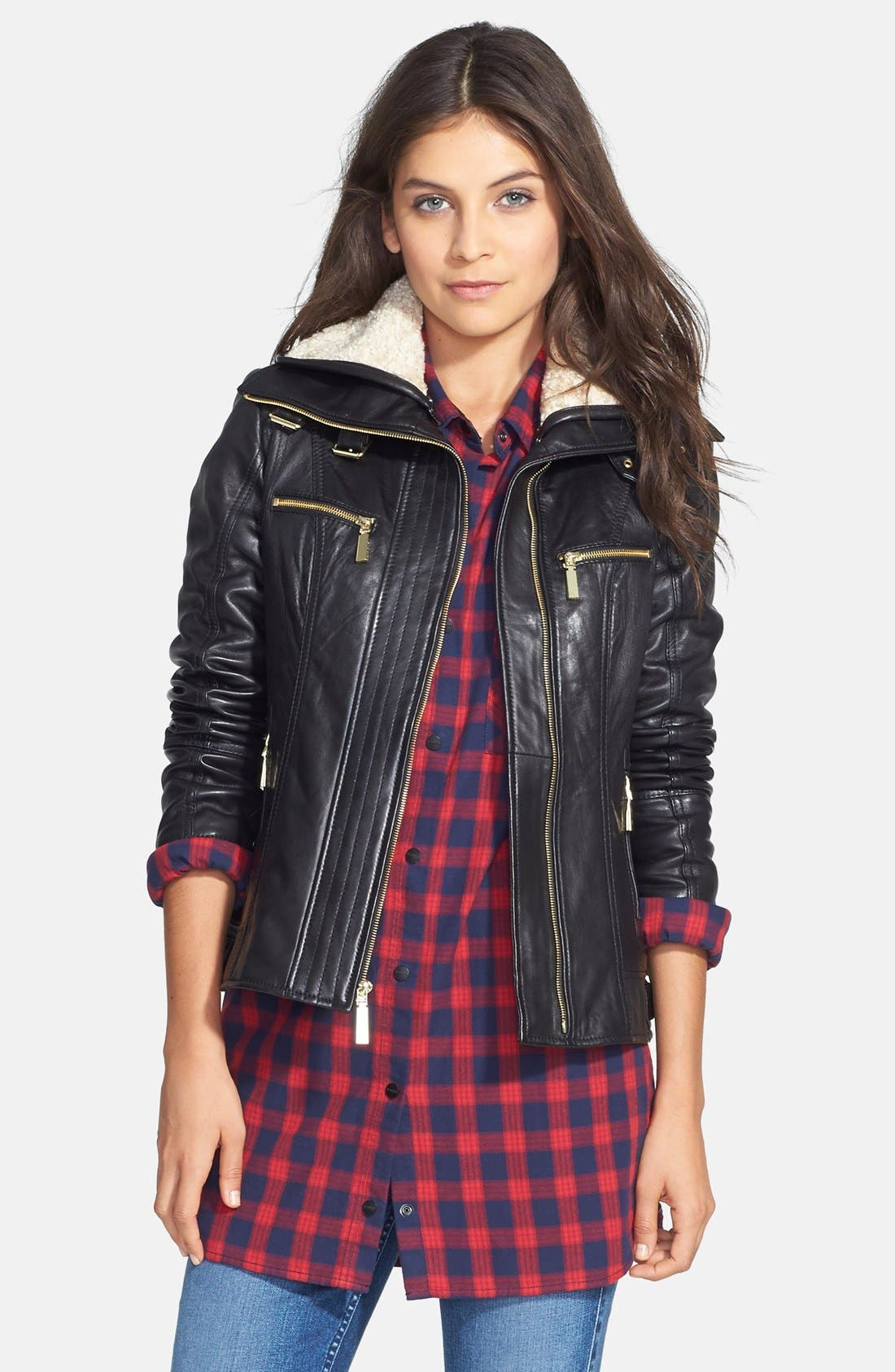 Alternate Image 1 Selected - Vince Camuto Faux Shearling Trim Lambskin Leather Jacket